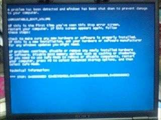 Windows XP:ブルースクリーン1