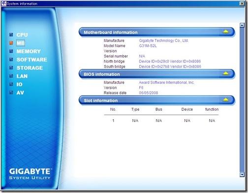 GIGABYTE System Information
