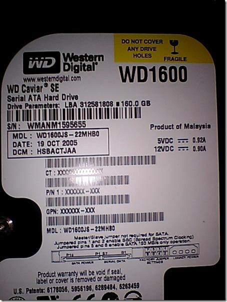 WD1600JS-22MHB0アップ