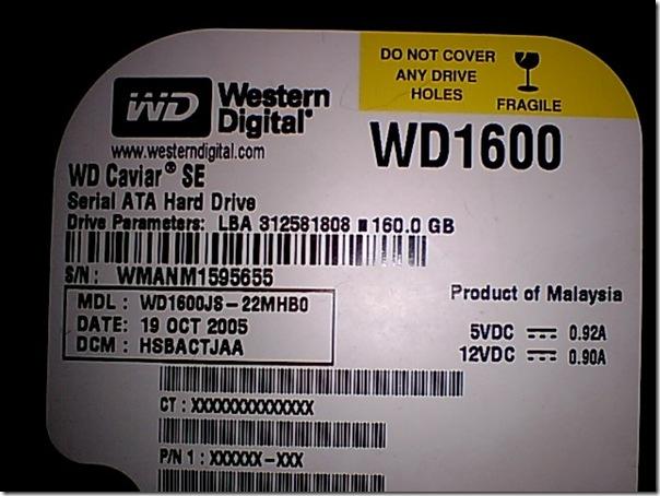 WD1600JS S/N:WMANM1595655