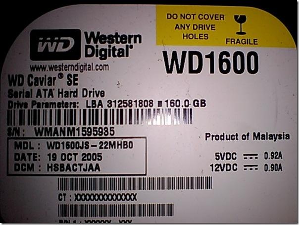 WD1600JS S/N:WMANM1595935