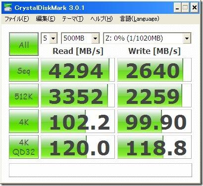 RamPhantom7 LEのCrystalDiskMarkによるベンチマーク
