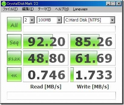 Hitachi/IBM HDP725050GLA360のベンチマーク セキュリティーソフト無効時